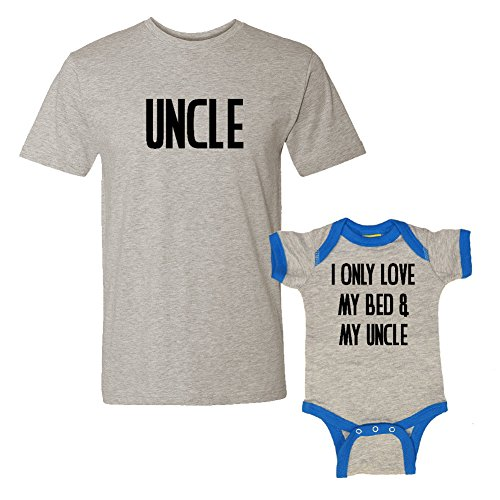 We Match!! - Uncle & I Only Love My Bed & My Uncle - Matching T-Shirt & Ringer Baby Bodysuit Set (6M Bodysuit, T-Shirt Large, Heather T-Shirt, Heather/Cobalt Ringer, Black Print)