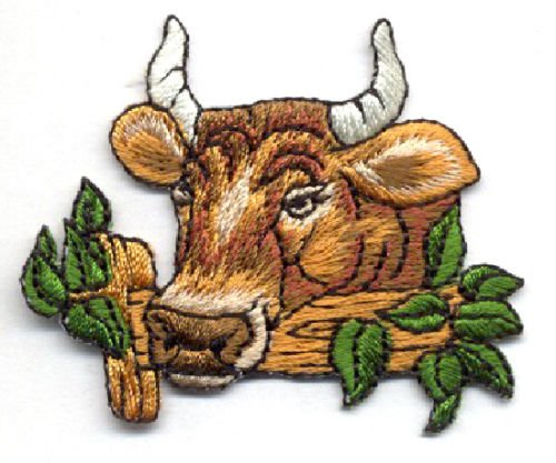 Fence Applique (Cow Over Fence ~ Farm Animal ~ Fully Embroidered Iron on Applique Patch Cool Patch Iron On)