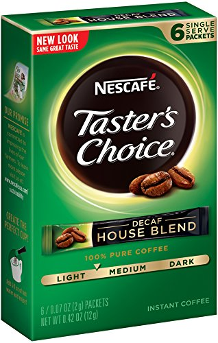 Nescafe Taster's Selection Decaf House Blend Instant Coffee, 6 Count Single Serve Sticks (Pack of 12)