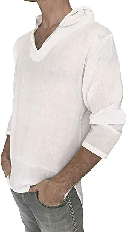 Hombre Camisa De Lino De Manga Larga Camisas De La Playa T-Shirt con Capucha: Amazon.es: Ropa y accesorios