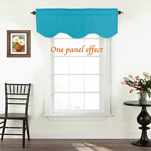 TURQUOIZE Solid Blackout Valance, Short Curtains, Scalloped Window Treatment, Teal, 52-inch by 18-inch, 1 Panel