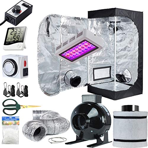 $274.99 indoor grow tent set up TopoLite Grow Tent Setup Complete Kit LED 300W Grow Light + 24″x24″x48″ Dark Room + 4″ Filter Exhaust Kit + Hydroponics Indoor Plants Growing System Accessories (24″x24″x48″ Kit1) 2019