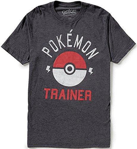 Pokemon Trainer Pokeball Mens Tee Shirt, Grey, Medium ()
