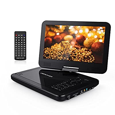 "DBPOWER 10.5"" Portable DVD Player with Swivel Screen, 3 Hours Rechargeable Battery, SD Card Slot and USB Port by DBPOWER"