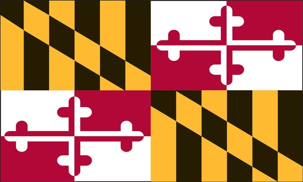 Valley Forge Flag 2-Foot by 3-Foot Nylon Maryland State Flag with Canvas Header and Grommets