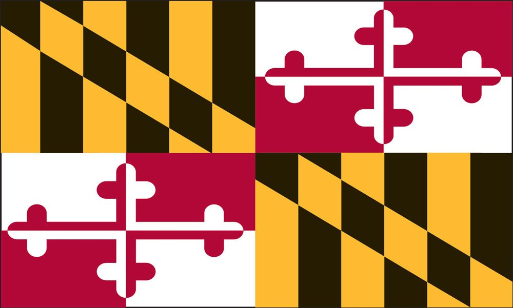 Valley Forge Flag 4-Foot by 6-Foot Nylon Maryland State Flag with Canvas Header and Grommets by Valley Forge
