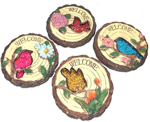 Stepping Stone says Welcome with Bird and Flower (SET OF 4) by Cement stepping stone
