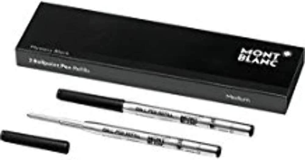 Montblanc Ballpoint Pen Refills (M) Mystery Black 116190 – Refill Cartridges with a Medium Tip for Montblanc Ball Pens – 2 x Black Ballpoint Refills