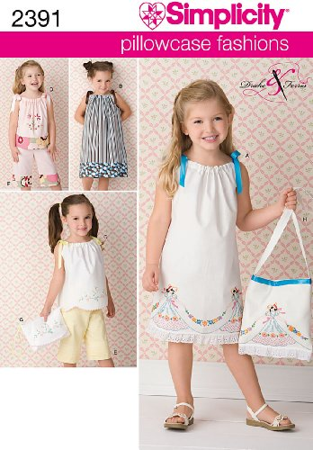Sewing 3 Patterns - Simplicity Pillowcase Fashion Bag and Clothing Sewing Patterns for Girls, Sizes 3-8