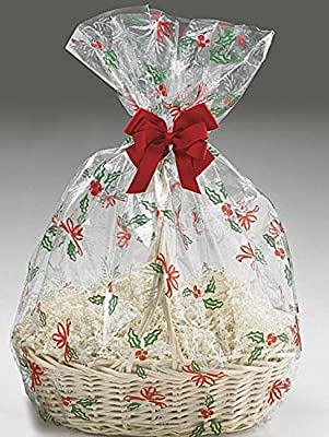 Bundleofbeauty Bsk895hk- 5pack Christmas Bells and Bows Cello/cellophane Bags Gift Basket Packaging Bags