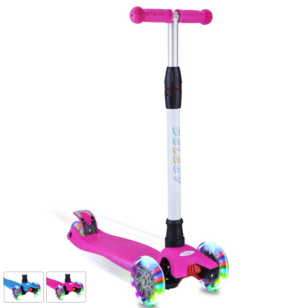 BELEEV Kick Scooter Kids 3 Wheel 4 Adjustable Height Scooter, Lean to Steer with PU LED Light Up Flashing Wheels for Children Age 3-12 Years Old (Pink)