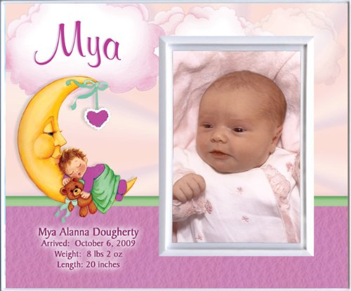 New Baby Girl Moon Personalized Birth Announcement Keepsake Picture Frame Gift from TooCute! Announcements