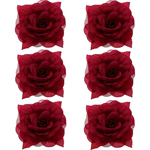 (Anleolife 6pcs/lot Fabric Big Flower Hair Clips 7 inch Diameter,Flower Corsage Brooch Pins,Women Flower Headwear Wedding Party Gift (Leaf red))