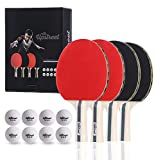 The Upstreet Box Set: 4 Ping Pong Paddles with 3 Star Ping Pong Balls for Table Tennis