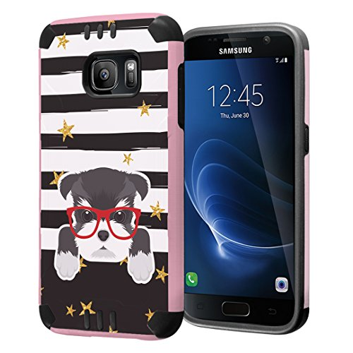 Galaxy S7 Case, Capsule-Case Hybrid Dual Layer Slim Defender Armor Combat Case (Rose Gold & Black) Brush Texture Finishing for Samsung Galaxy S7 SM-G930 SMG930 - (Miniature Schnauzer)
