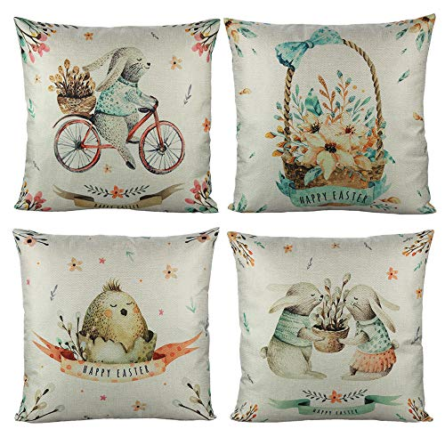 VAKADO Happy Easter Spring Throw Pillow Covers Eggs Bunny Rabbits Flowers Decorative Cushion Cases Home Decoration for Couch Sofa Outdoor 18x18 Inch Set of 4