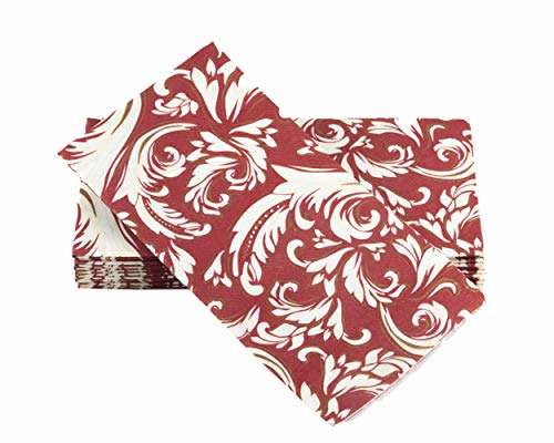 - Simulinen Hand Towels - Decorative Burgundy Cascade Floral - Durable, Cloth Like & Disposable - Guest Towels & Bathroom Towels (17