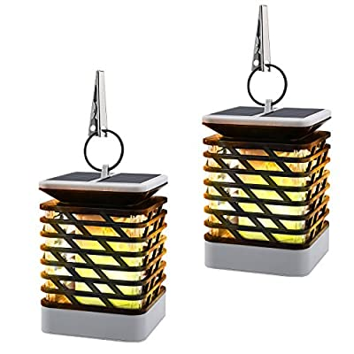 Solar Flame Lights[2PCS], MoKo Waterproof LED Solar Powered Flickering Flame Torch Lights Outdoor Hanging Decorative Lighting for Festival Garden Lawn Landscape Fence Street Decor, Auto On/Off - BLACK - UNIQUE DESIGN - Special flickering flames design, appears to be realistic flames. Solar-powered, rechargeable battery provides up to 10 hours lighting time after fully charged. AUTO ON/OFF - Integrated solar panel with light sensor, automatically turn on at dusk and off at dawn. Turn ON the switch before you put it outside to get charged under the sunshine. WATERPROOF & DURABLE - With IP55 waterproof rating, helps to withstand severe weather conditions. Made of rustproof ABS material, it won't get rust and become fragile under sunshine. - patio, outdoor-lights, outdoor-decor - 51FTKlB4g8L. SS400  -