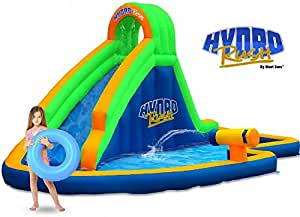 Blast Zone Hydro Rush - Inflatable Water Park with Blower - Curved Slide  - Splash Area - Water Cannon - Climbing Wall