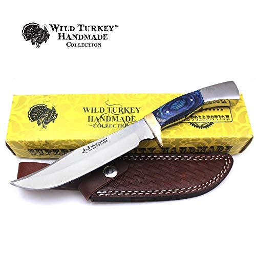 Wild Turkey Handmade Real Bone Handle Full Tang Fixed Blade Hunting Knife w/Leather Sheath Hunting Camping Fishing Outdoors Sharp Blade (Color Bone)