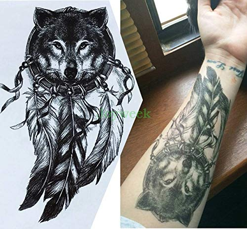 5pcs Tatuaje engomada Impermeable de Gran tamaño de los Lobos ...