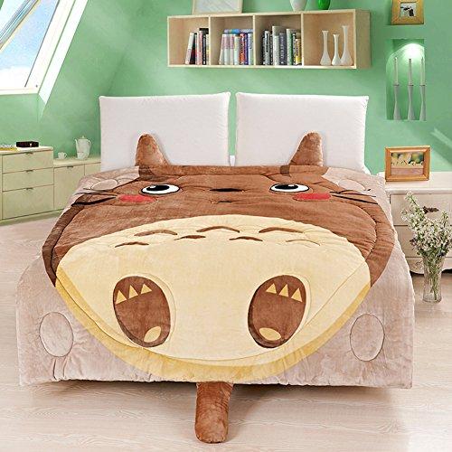 Housse de couette en flanelle motif Totoro, doudou confortable en motif de dessin animé pour enfants, Totoro/Chat/chouette, amovible et lavable par Memorecool, Coton, Brown Totoro, 1Piece