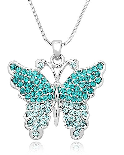 Pretty Pastel Crystal Embellished Butterfly Silver Tone Pendant Necklace for Girls, Teens and Women (Teal Blue)
