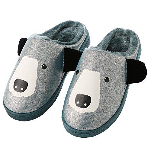 Dibujos animados cuero de la PU familia zapatillas de casa-Unisexo invierno calentar felpa Botín con los zapatos azul marino