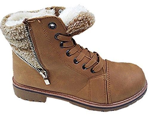 Mujer Basket montantes Botines manoplas niña Boots Mode forro Camel SN8–1