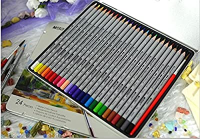 Fine Art 24/36/48 Color Professional Drawing Watercolor Water Soluble Non-toxic Pencils Set Drawing Pencils Polychromes Colored Pencils for Artist Sketch-Set In Metal Tin