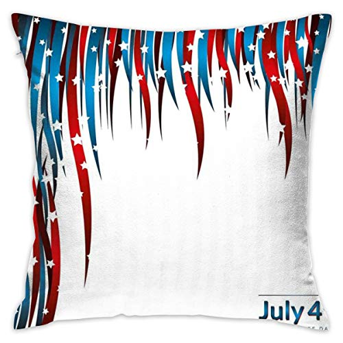 Uanlic Decorative Throw Pillows Covers with Insert,Independence Day Themed Stars and Swirled Stripes Composition,18x18 Inches Square Patio Cushions for Couch Bed Sofa Patio Furniture (Furniture Uk Square Patio Covers)
