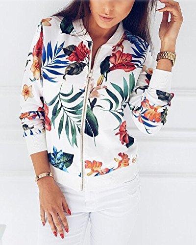 Zip Inverno Fiore Jacket Bianco Manica Tops Outwear Classico Corto Blazer Cappotto Stampato Giacca Autunno Bomber Orandesigne Lunga Donne Moda Camicetta Felpa RqWxEW8U