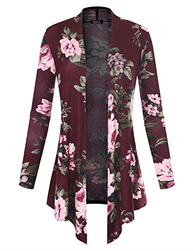 Floral Long Sleeve Cardigan - BH B.I.L.Y USA Women's Open Front Drape Hem Lightweight Cardigan Floral Print 61140 Burgundy Small