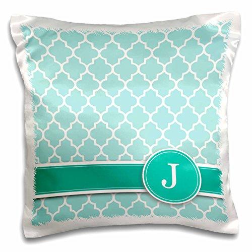3dRose Personalized Letter J Aqua Blue Quatrefoil Pattern Teal Turquoise Mint Monogrammed Personal Initial-Pillow Case, 16 by 16