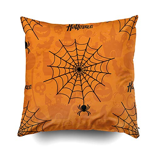 GROOTEY Decorative Cotton Square Pillow Case Covers with Zippered Closing for Home Sofa Decor Size 16X16 Inch Costom Pillowcse Throw Cover Cushion Halloween Happy Halloween Pattern Texture Wallpaper