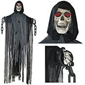 Choose Prextex Animated Hanging Grim Reaper Skull for Best Halloween Decoration Prop! You get: One 5 Ft. Tall Animated Hanging Grim Reaper with A long Black Flowing Robe which Floats Eerily in the Breeze; and Red Led Light Eyes that Light up. Reaper ...