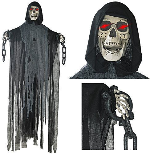 Prop Animated Halloween (Prextex 5 Ft. Animated Hanging Grim Reaper Skull with Shackles Chains Best Halloween Decoration)