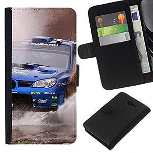 Protector de cuero de la PU de la cubierta del estilo de la carpeta del tirón BY RAYDREAMMM - Sony Xperia M2 - WRX STI