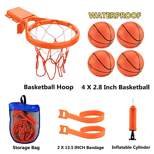 Bath Toy Basketball Hoop & Balls Playset(2 in 1 Design), with 4 balls and Mesh Bag, Bathroom Slam Dunk&Bathtub Shooting Game Gadget, for Kid Boy Girl Child Gift, With Strong Suction Cup and Magic Rop by Punertoy (Image #4)