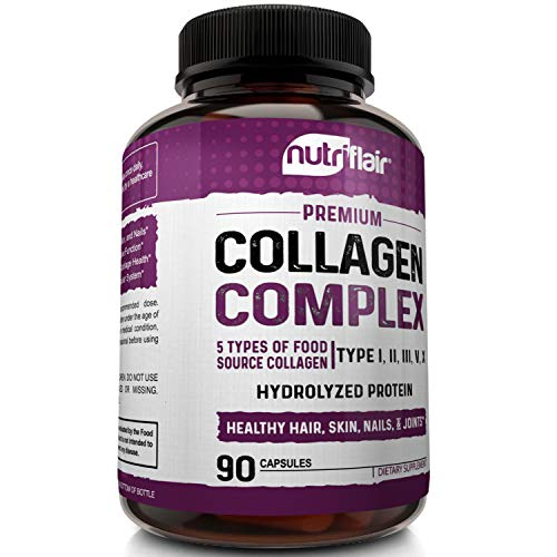 51FTN2qxNcL - NutriFlair Multi Collagen Pills - Type I, II, III, V, X - Premium Collagen Peptides Complex for Anti-Aging and Healthy Joints, Hair, Skin, and Nails - Hydrolyzed Protein Supplement for Women and Men