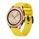 Sinma Sport Silicone Replacement Band Smart Watch Strap Compatible for Samsung Galaxy Watch 42mm (Yellow)