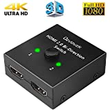 HDMI Bi-directional 1x2 or 2x1 Switch,Ozvavzk 4K HDMI Switcher Splitter Supports Ultra HD 4K 3D 1080P for PS4 Xbox Fire Stick Roku,No External Power Required