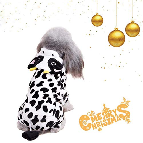 Coppthinktu Dog Cow Costume - Adorable Halloween Dog Costumes Cow Style Hoodie Soft and Comfortable Jumpsuits for Small -
