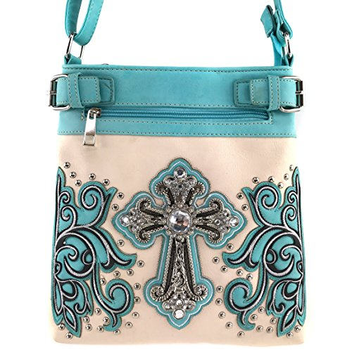 Justin West Concealed Carry Western Embroidery Rhinestone Cross Colorful Crossbody Messenger Purse Bag (Aqua Creme Messenger) - Aqua Womens Bag