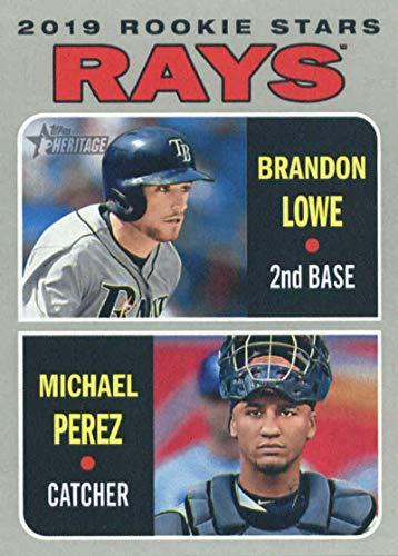 (2019 Topps Heritage #9 Brandon Lowe/Michael Perez Tampa Bay Rays Rookie Baseball Card)