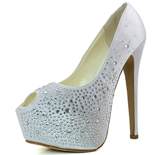 DailyShoes Women's Sexy Treading Satin Fabric Peep Toe Stiletto Platform Ivory Pump, Ivory Satin 7.5 B(M) US