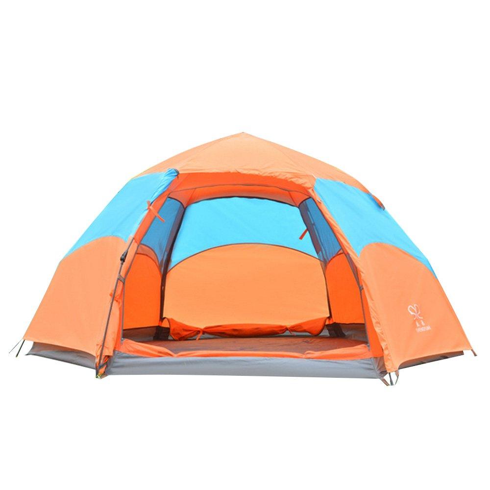 Facecozy 自動 テント 六角2重 アウトドアテント 登山 旅行 ビーチ フルクローズ キャンプテント  防水 防寒 防風 3~5人用   B01JLI26KS