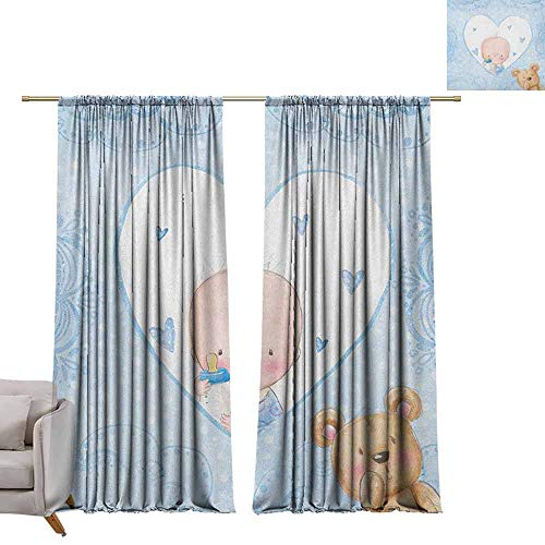 Drapes for Living Room Gender Reveal,Little Baby Boy and Teddy Bear Toy Heart Shaped Cute Design, Pale Blue and Sand Brown W72 x L108 Tie Up Printed Blackout Curtain