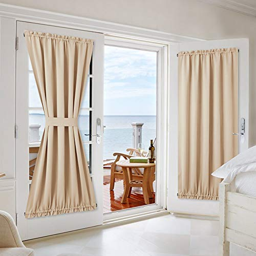 NICETOWN Room Darkening Door Curtain Panels - Window Treatment Room Darkening French Sliding Glass Door Blinds Curtains Shades (2 Panels, 54 inches Wide x 72 inches Long, Biscotti Beige)