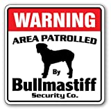 Bullmastiff Security Sign | Indoor/Outdoor | Funny Home Décor for Garages, Living Rooms, Bedroom, Offices | SignMission Area Patrolled Pet Purebred Akc Dog Guard Lover Vet Sign Wall Plaque Decoration
